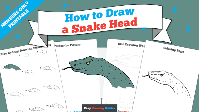 Printables thumbnail: How to draw a Snake Head