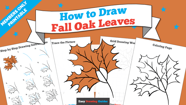 download a printable PDF of Fall Oak drawing tutorial