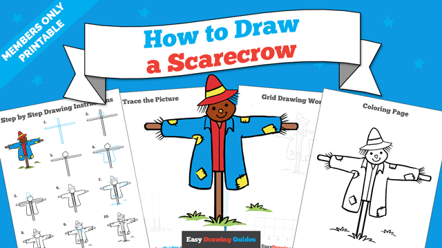 download a printable PDF of Scarecrow drawing tutorial