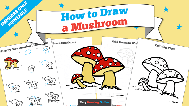 download a printable PDF of Mushroom drawing tutorial