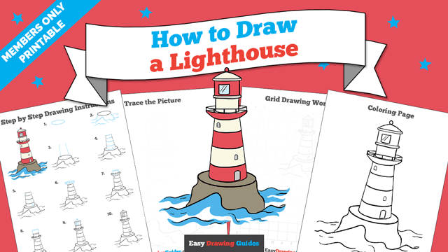 download a printable PDF of Lighthouse drawing tutorial