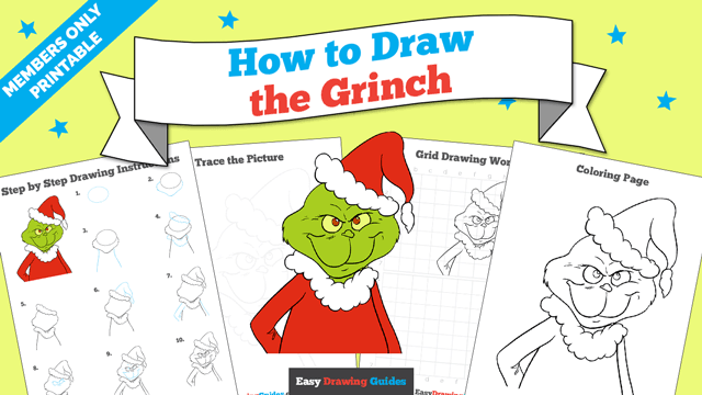 Printables thumbnail: How to draw the Grinch