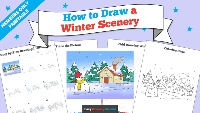 download a printable PDF of Winter Scenery drawing tutorial