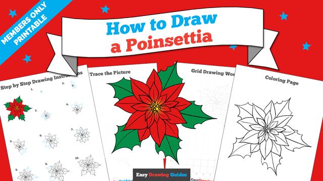 Printables thumbnail: How to draw a Poinsettia