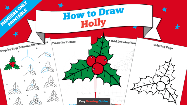 download a printable PDF of Holly drawing tutorial