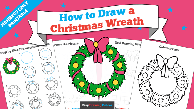 download a printable PDF of Christmas Wreath drawing tutorial