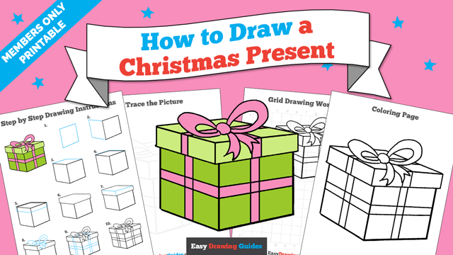download a printable PDF of Christmas Present drawing tutorial