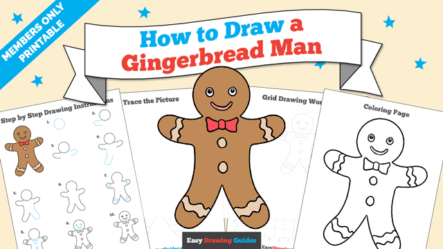download a printable PDF of Gingerbread Man drawing tutorial