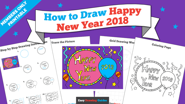 Printables thumbnail: How to draw Happy New Year 2018