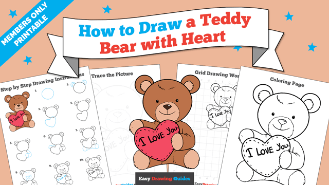 download a printable PDF of Teddy Bear with Heart drawing tutorial