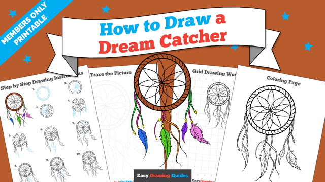 download a printable PDF of Dream Catcher drawing tutorial