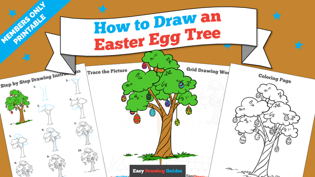 Printables thumbnail: How to draw an Easter Egg Tree