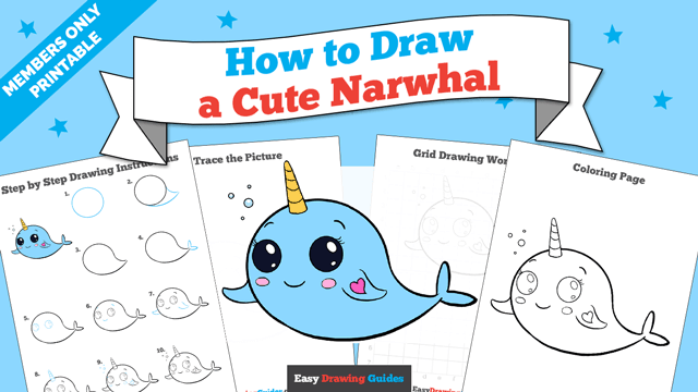 download a printable PDF of Cute Narwhal drawing tutorial