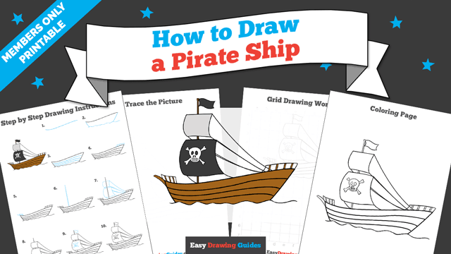 download a printable PDF of Pirate Ship drawing tutorial