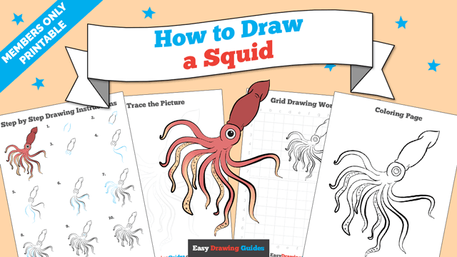 download a printable PDF of Squid drawing tutorial