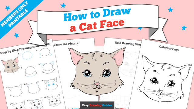 download a printable PDF of Cat Face drawing tutorial