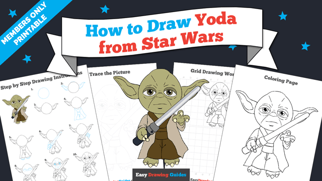 Printables thumbnail: How to draw Yoda from Star Wars