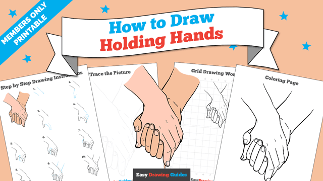 Printables thumbnail: How to draw Holding Hands