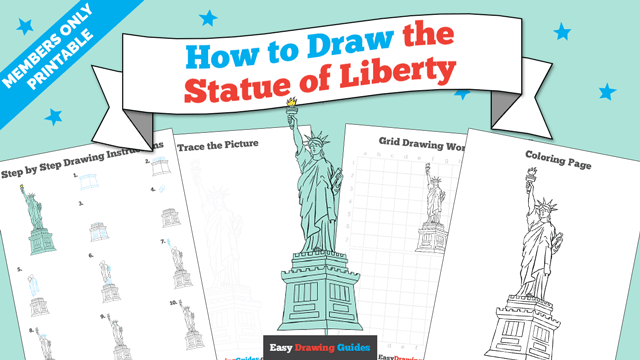 download a printable PDF of Statue of Liberty drawing tutorial