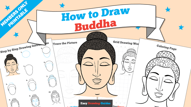 download a printable PDF of Buddha drawing tutorial