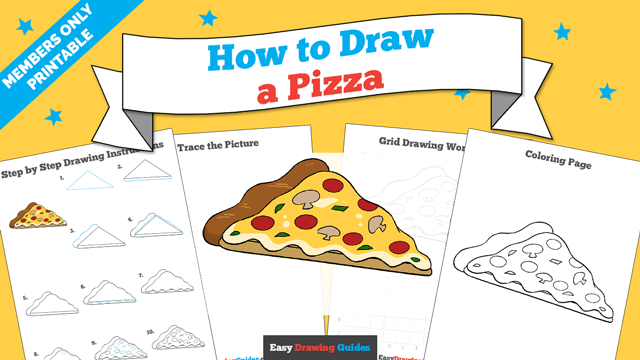 download a printable PDF of Pizza drawing tutorial