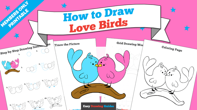 Printables thumbnail: How to draw Love Birds