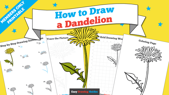 download a printable PDF of Dandelion drawing tutorial