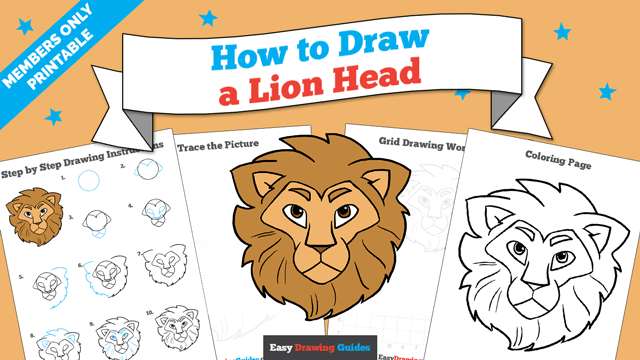 download a printable PDF of Lion Head drawing tutorial