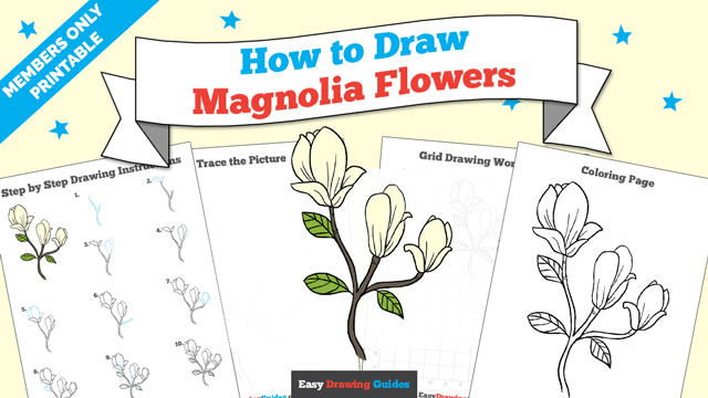 download a printable PDF of Magnolia Flower drawing tutorial