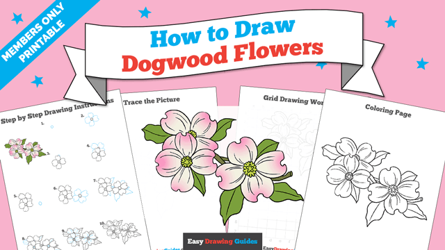 download a printable PDF of Dogwood Flowers drawing tutorial
