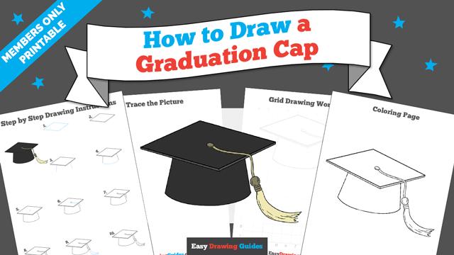 download a printable PDF of Graduation Cap drawing tutorial