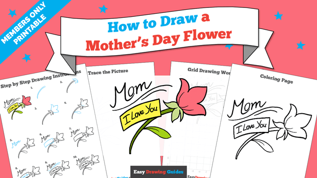 download a printable PDF of Mother's Day Flower drawing tutorial