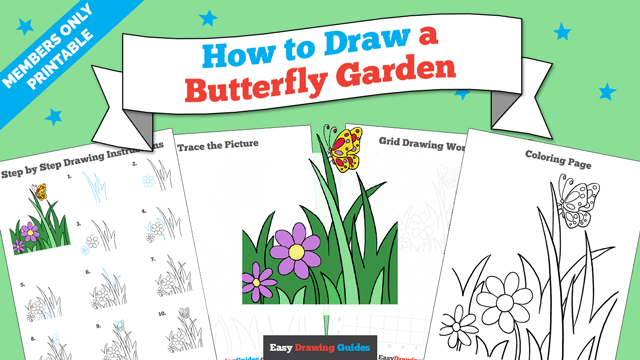 download a printable PDF of Butterfly Garden drawing tutorial