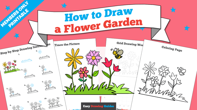 download a printable PDF of Flower Garden drawing tutorial