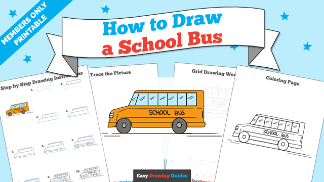 download a printable PDF of School Bus drawing tutorial
