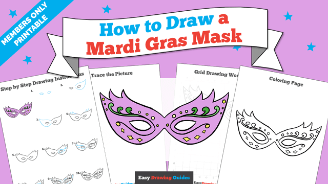 download a printable PDF of Mardi Gras Mask drawing tutorial