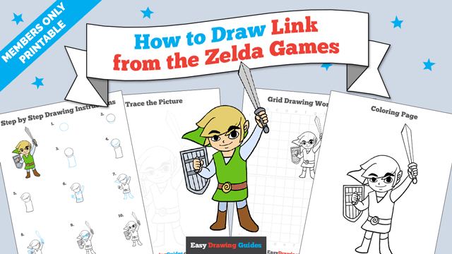 download a printable PDF of Link from the Zelda Games drawing tutorial