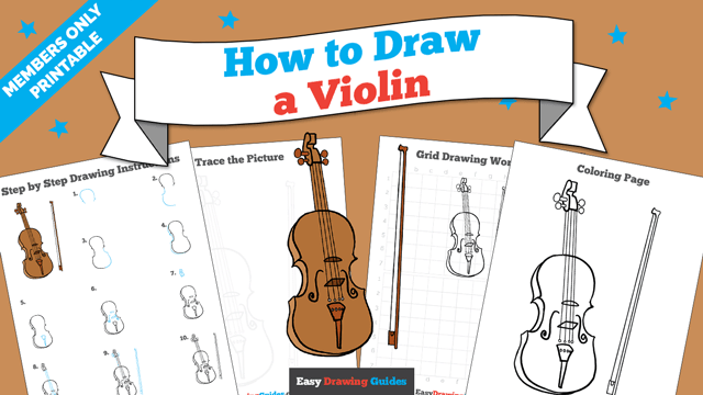 download a printable PDF of Violin drawing tutorial