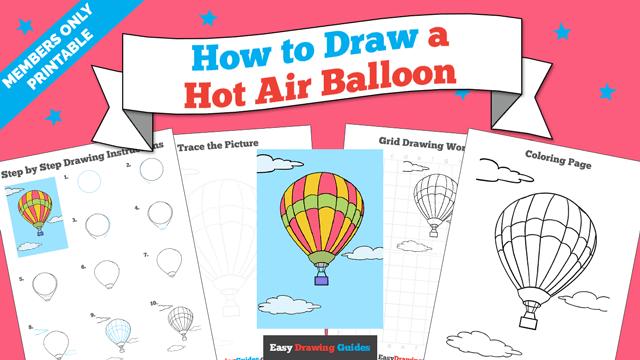 download a printable PDF of Hot Air Balloon drawing tutorial