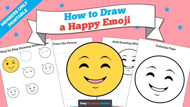 download a printable PDF of Happy Face Emoji drawing tutorial