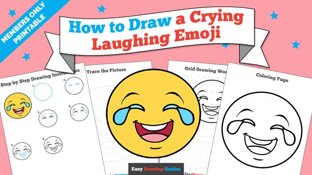 download a printable PDF of Crying Laughing Emoji drawing tutorial
