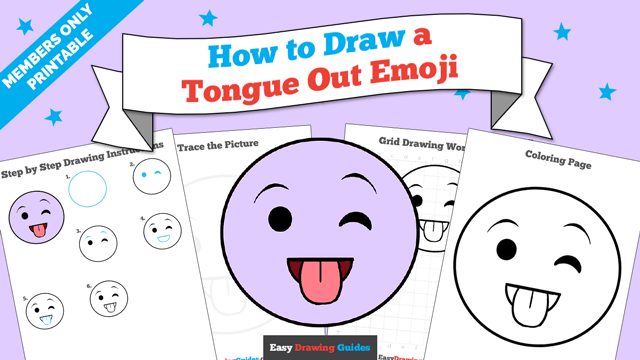 download a printable PDF of Tongue Out Emoji drawing tutorial