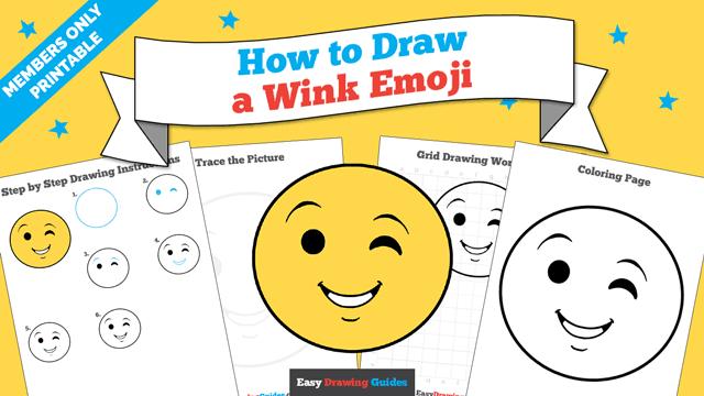 download a printable PDF of Wink Emoji drawing tutorial