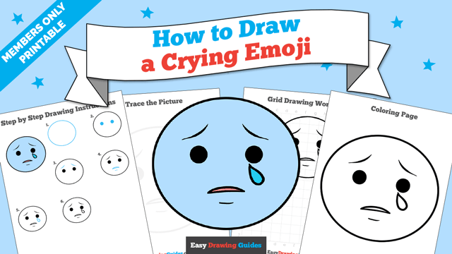 download a printable PDF of Crying Emoji drawing tutorial
