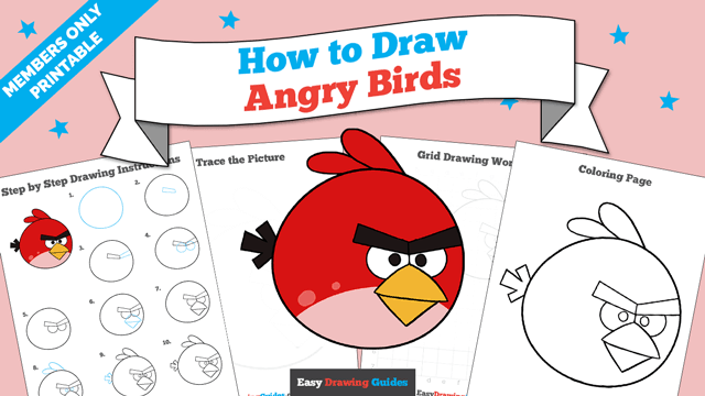 Printables thumbnail: How to draw Angry Birds