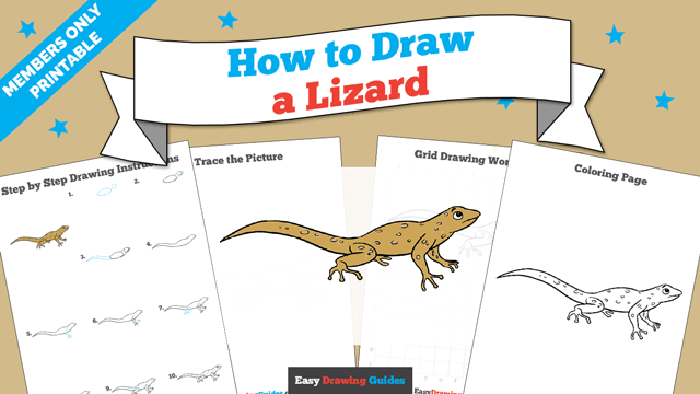 download a printable PDF of Lizard drawing tutorial