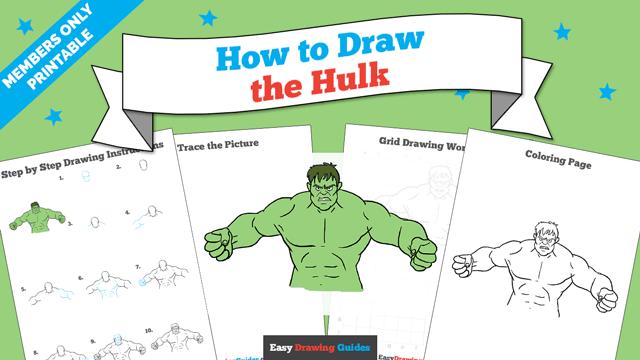 download a printable PDF of Hulk drawing tutorial