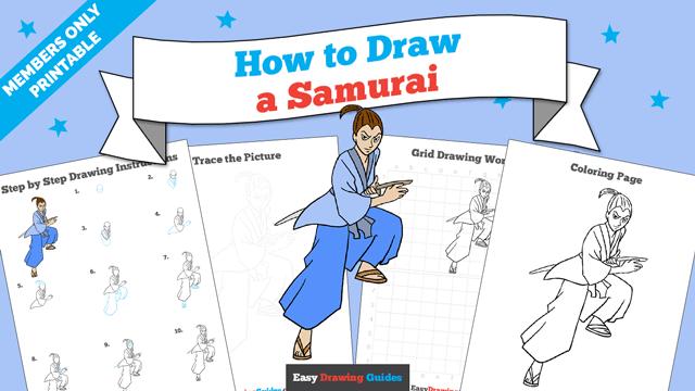 Printables thumbnail: How to draw a Samurai