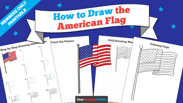 download a printable PDF of American Flag drawing tutorial