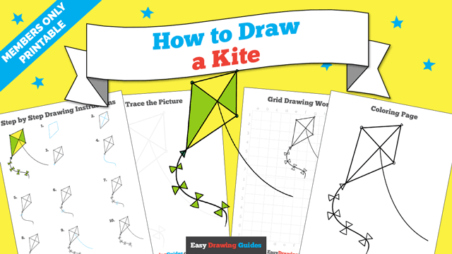 download a printable PDF of Kite drawing tutorial